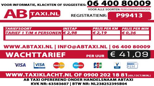 Tarievenkaart taxi tiel